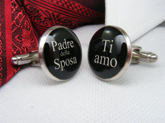 Padre della Sposa - Ti amo - Gemelli - Father of the Bride - I love you - Italian - Cufflinks - Mens Accessories - Wedding Ideas - For Him on Etsy, $39.00 CAD