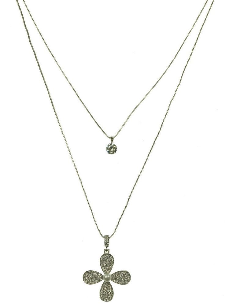 This delightful two strand necklace comes with a delicate flower on one strand and diamonte on the second short strand. $11.50