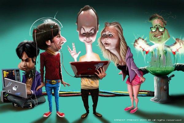Cartoon of The Big Bang Theory -- Cartoon of the protagonists of the television series The Big Bang Theory.  --  Source: http://dibustracion.blogspot.com.es/2013/09/the-big-band-theory.html