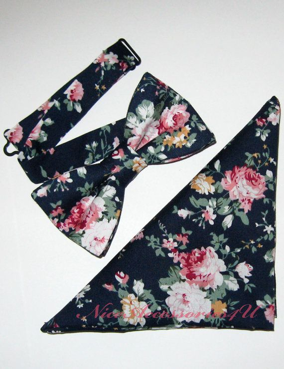 Navy Blue Floral Bow tie. Men's Bow Tie. Pre-tied Wedding Bowtie & Pocket Square. Matching Bow Tie + Pocket Square Gift Set.