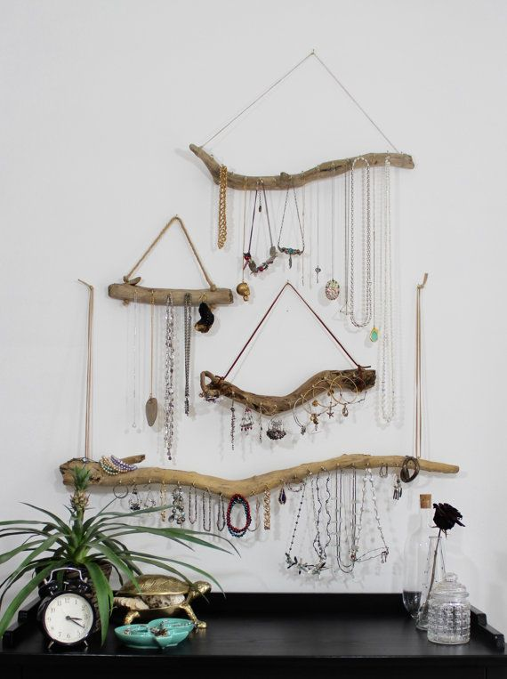 Driftwood Jewelry Organizer Hanger Wall Hanging by Curiographer