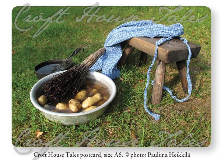 Washing potatoes, Croft House Tales postcard.