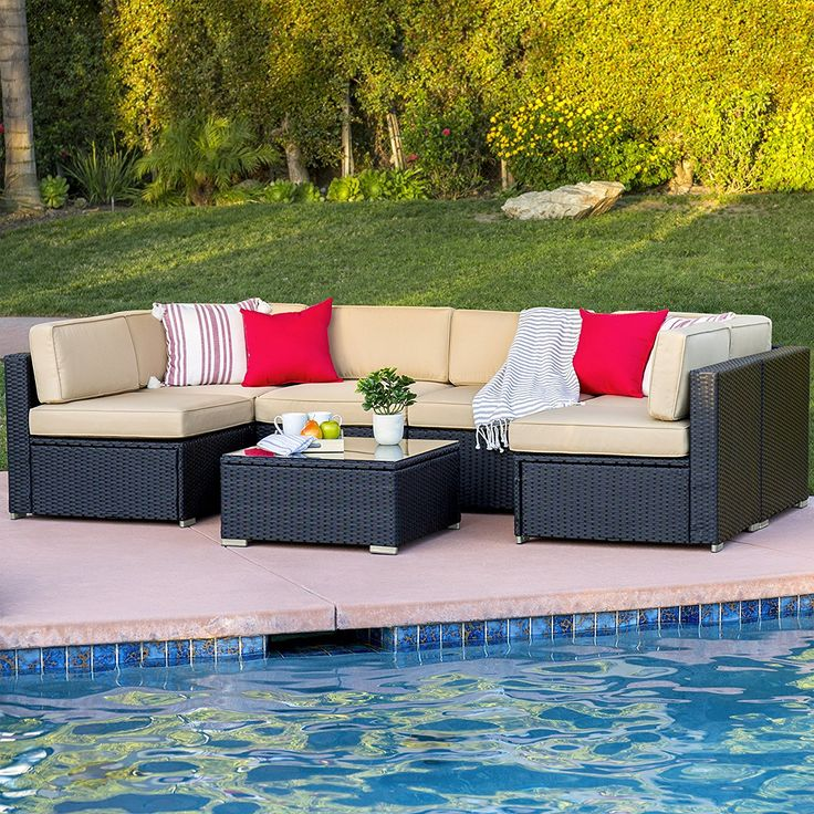 Patio Decorating With 7 Piece Outdoor Patio Garden Furniture Wicker Rattan Sofa Set Sectional, Black Versatile 7-Piece Set Arrange the sofas however you like! The 6 sofa chairs, table, and 2 pillows can be arranged in a variety of ways to accommodate different spaces – from your patio to the...
