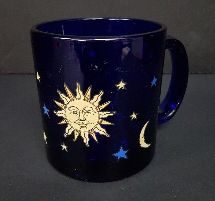 Vintage Libbey Cobalt Blue Sun Moon Stars Celestial Glass Mug Cup Made in USA #Libbey