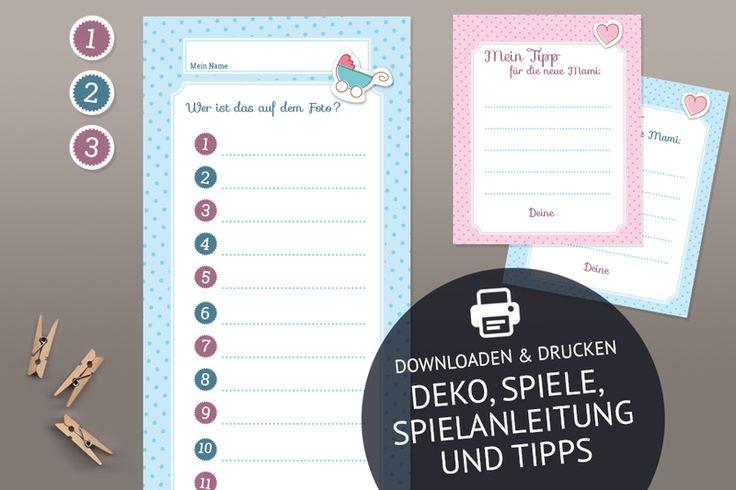 Weiteres - Spiele und Deko für die Babyparty als Set - ein Designerstück von blickfangshop bei DaWanda