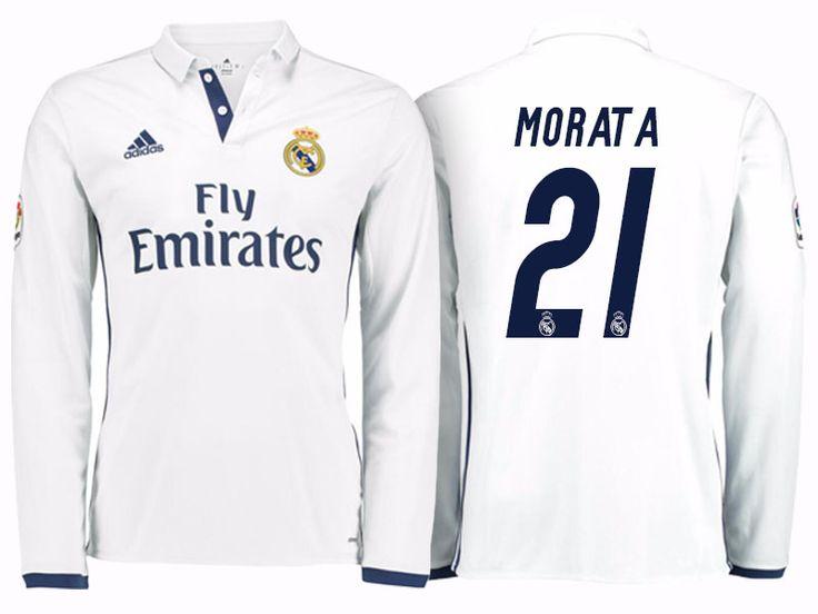 Real Madrid #21 Alvaro Morata 2016-17 Home Long Jersey