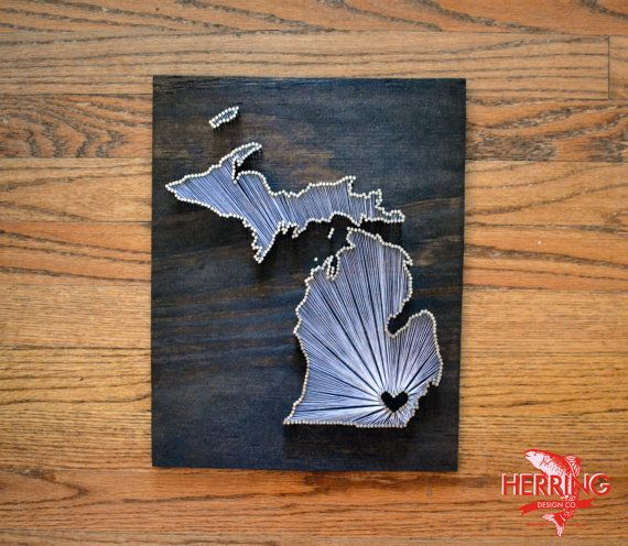 Stained Michigan State String Art  Ann Arbor by herringdesignco