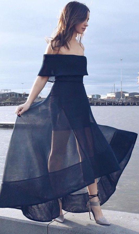 #summer #flirty #outfitideas Black Tulip Gown