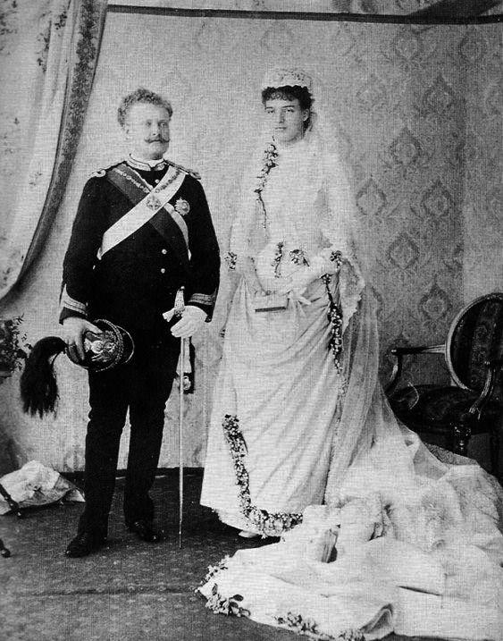 1886 King Carlos & Queen Amelie of Portugal wedding photo | Grand Ladies | gogm