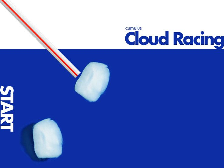 Weather experiment: cloud racing-blue sheet of paper, cotton balls, and kids are the wind