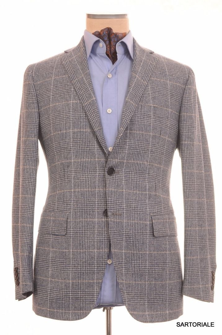 Sartoria PARTENOPEA Hand Made Blue Plaid Lamb's Wool Jacket US 38 NEW EU 48 R7