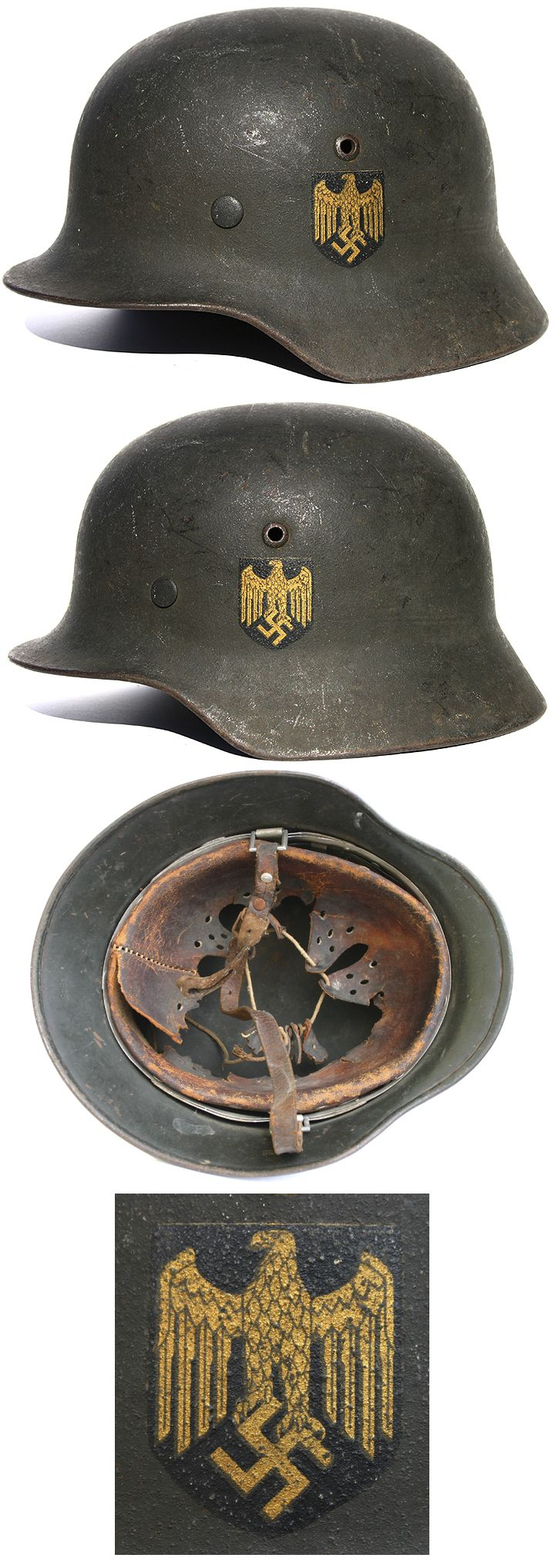 This M1935 single decal helmet was captured in Le Havre, France in 1944 by Technical Sergeant Philip Schumacher who was assigned to the European Theatre of Operations Transport Headquarters unit.  The helmet was selected as a souvenir from a group of captured German equipment.  The helmet features the typical field green textured surface found on most Wehrmacht helmets produced between 1940 and 1941.