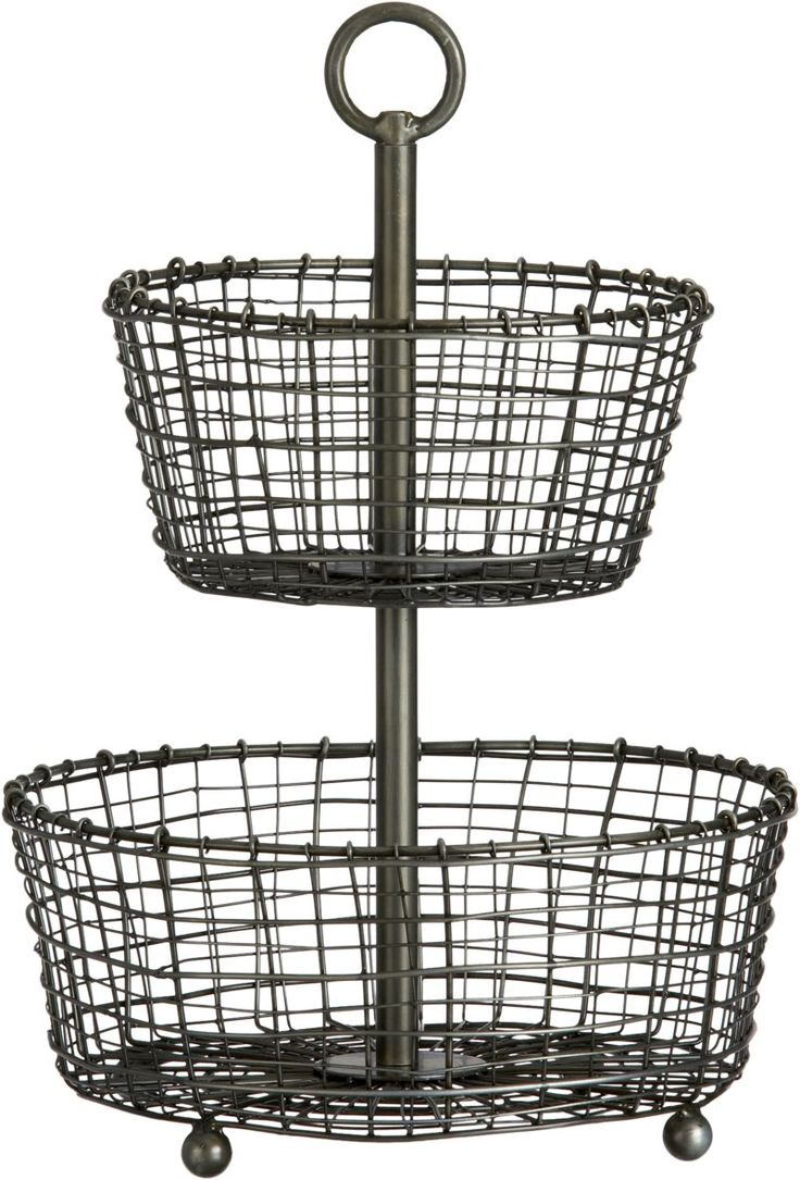 Rustic 2 Tier Iron Fruit Basket Crate And Barrel Crates