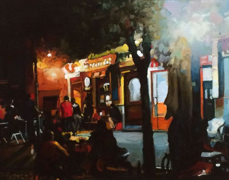 Joe McIntyre,Evening in the City,Waiting, Madrid,Oils,16x20 l Scottish Contemporary Art