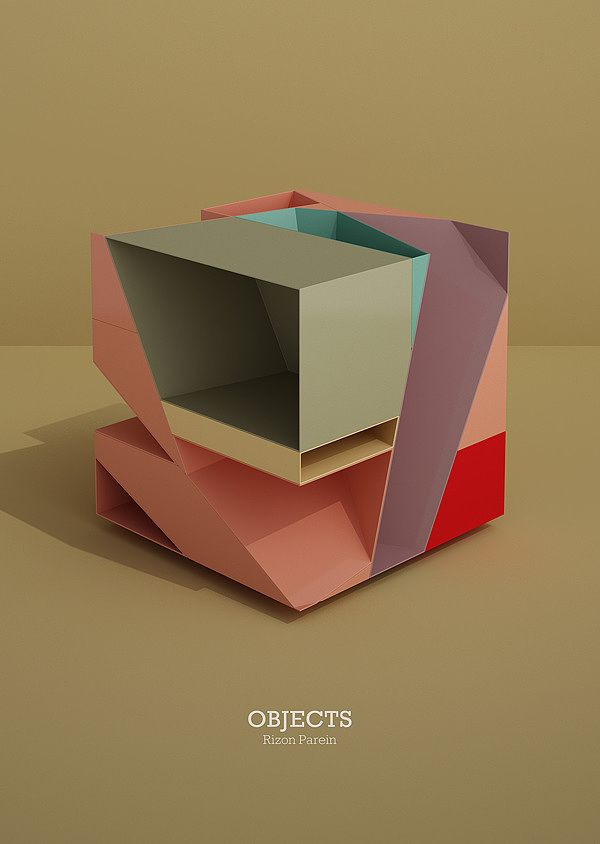 Objects by Rizon Parein, cube, product, interior, shelf, colour