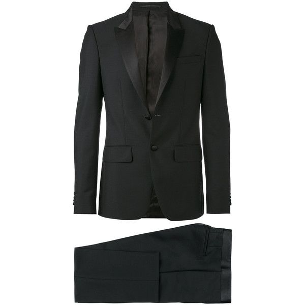 Givenchy Formal Suit ($2,160) ❤ liked on Polyvore featuring men's fashion, men's clothing, men's suits, mens peak lapel suits, givenchy mens clothing, men's urban apparel, mens formal suits and mens dark grey suit
