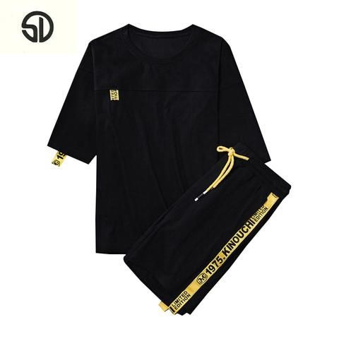 bbef3abe6442 Casual Suit Men Summer Sportwear Sets Tracksuit Men Brand Clothing  Streetwear Tops Tees+Shorts Fashion