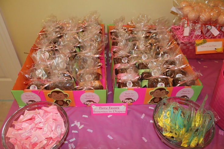 Party favors for baby shower-brownies-in-diapers, cake pops, etc.