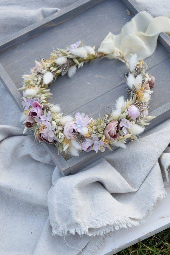 Bridal flower crown Wildflower crown Wedding flower crown Dried Flower crown Rustic Flower Crown headwreath Maternity photosession