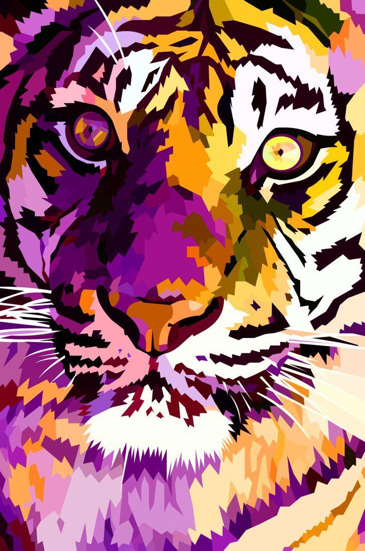 New tiger closeup by elviraNL - vector drawing (digital art)