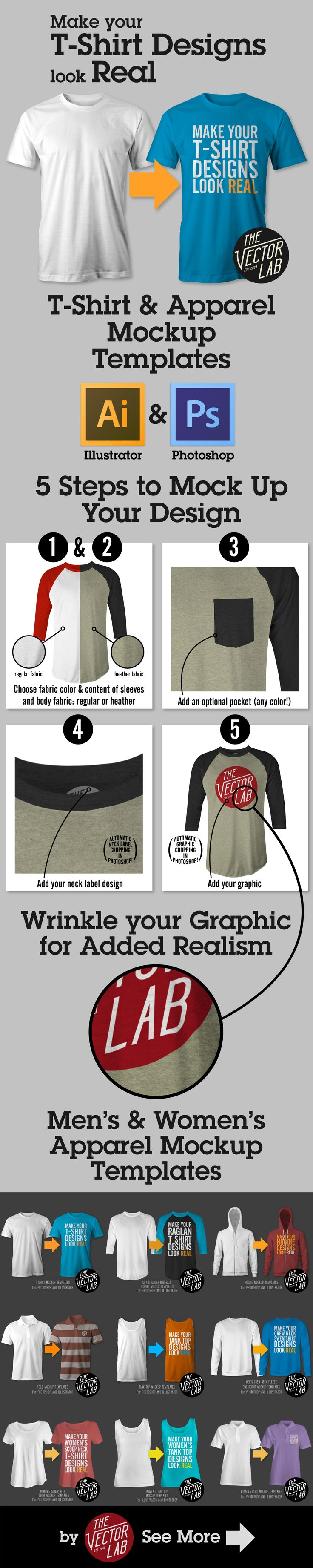 T-Shirt Mockup Templates for Photoshop and Illustrator http://thevectorlab.com/collections/mens-apparel-templates