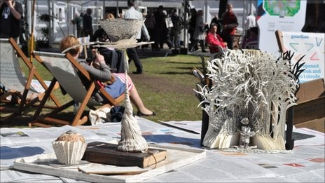 Mysterious sculptures have appeared at the Edinburgh Book festival - and no-one knows who left them.