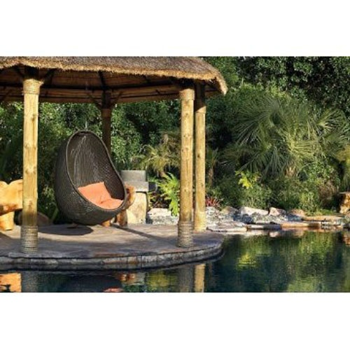 cozy hanging chair in a gazebo.... in a pond!