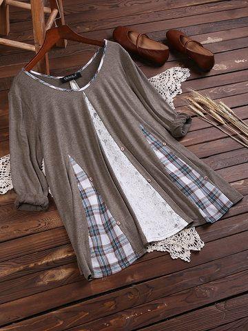 Blusas de mangas compridas de retalhos de renda xadrez vintage para mulheres   – upcycling kleidung