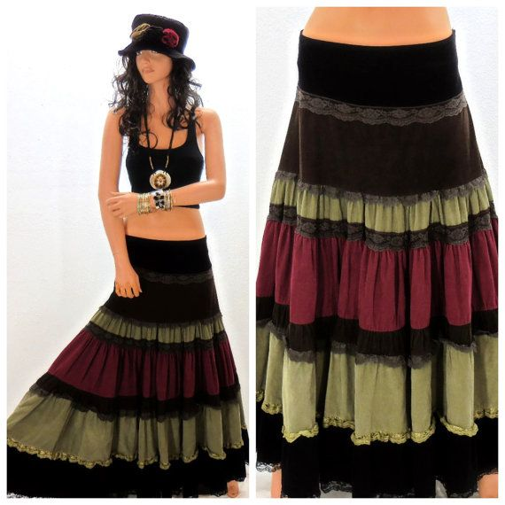 Beautiful velveteen corduroy and lace boho festival skirt, full circle skirt tiered with black, brown, maroon and olive green, great long