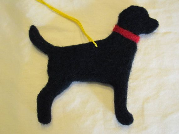 Black lab with red collar.    My labrador retriever ornaments are hand-felted from naturally processed merino wool. Each lab measures 4-1/4 inches from nose to tail and includes yellow embroidery floss for hanging. I donate 20% of all proceeds to the Lab Rescue of the LRCP. That means a portion of your purchase goes towards helping a needy lab find a new home! www.lab-rescue.org