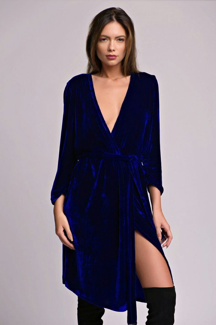 Navy-Blue Silk Velvet Wrap Dress #SilkVelvet #WrapDress #silk #velvet
