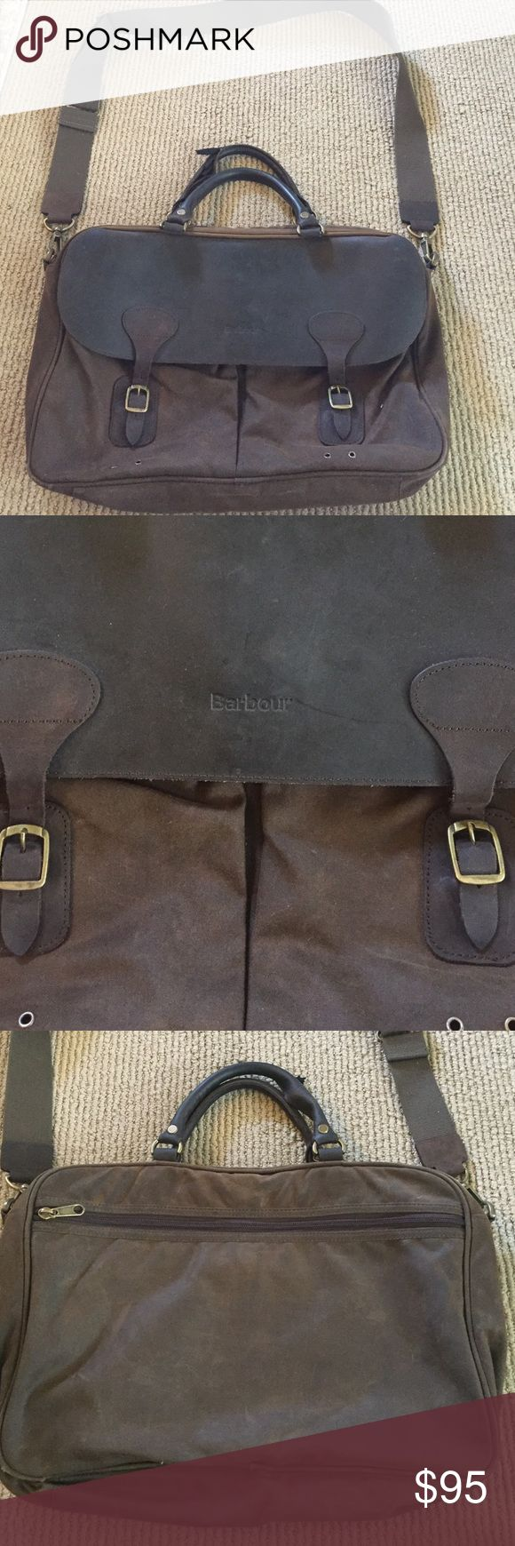 Barbour Briefcase with Shoulder Strap. Barbour Briefcase with Shoulder Strap. Brown/Olive Green. Canvas shoulder strap. Minor wear and tear. One handle is worn and needs some TLC. Two front pockets. One back outside zip closure pocket. Barbour Bags Briefcases
