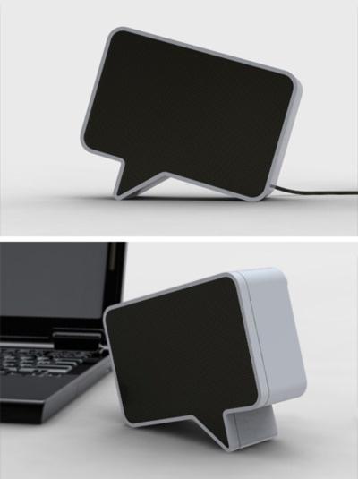 """Speaker a forma di """"dialogo"""", idea innovativa e di design."""