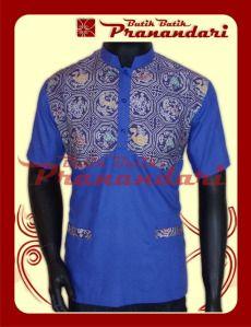 Koko Kombinasi Batik dengan Katun Ima Warna Ungu Muda