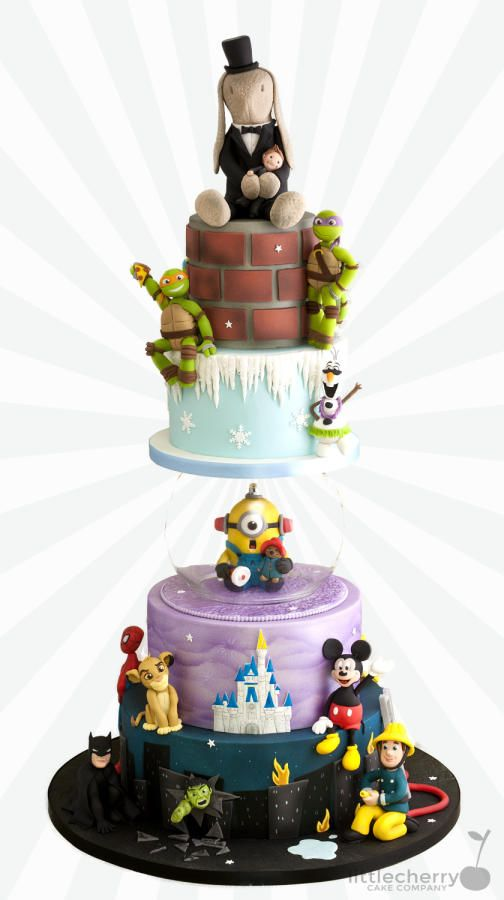 Cartoon Wedding Cake by Little Cherry - http://cakesdecor.com/cakes/245660-cartoon-wedding-cake
