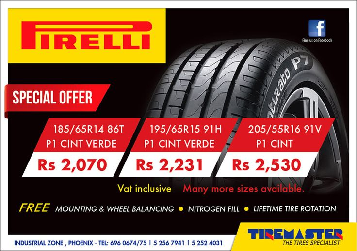 Tiremaster - Special Offer on Pirelli Tyres. Tel: 696 0674 / 696 0675