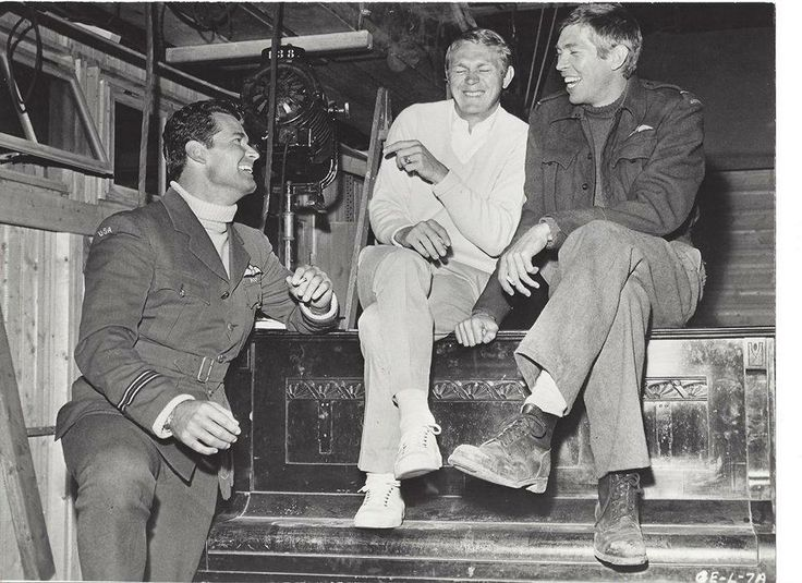 James Garner, Steve McQueen, and James Coburn on the set of The Great Escape in 1962.