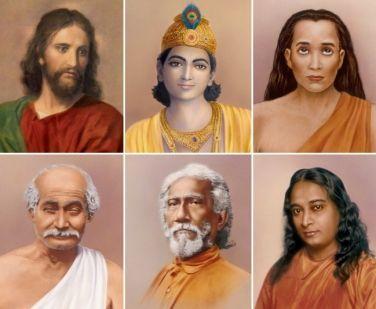 Jesus, Lord Krishna, Mahavatar Babaji, Lahiri Mahasaya, Sri Yukteswar, Paramahansa Yogananda