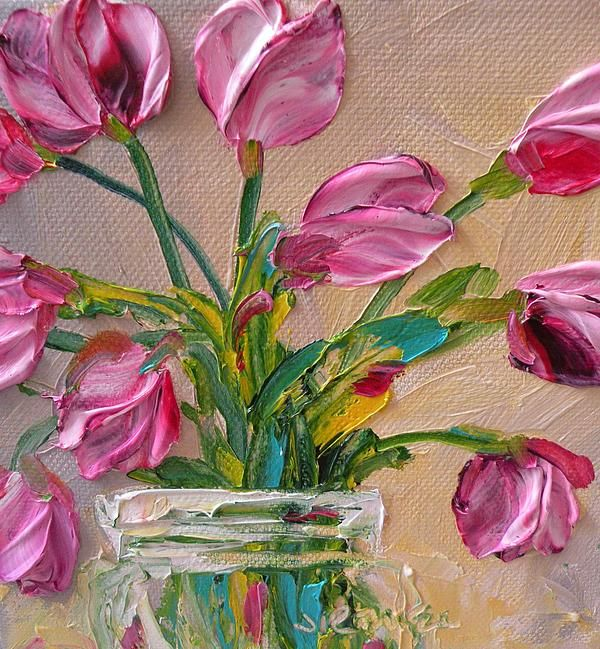 Impasto Tulips - absolutely stunning. I just want to reach out and touch the tulips. Such texture.
