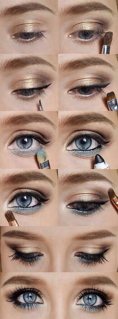 This is a trick I learned from my mom a long time ago: If you want your eyes to really pop, put some eyeshadow that's the same color as your eyes underneath your eyes, and ALWAYS make the skin around your eyes look a little bit lighter than the rest of your face. This will give you that extra glow!