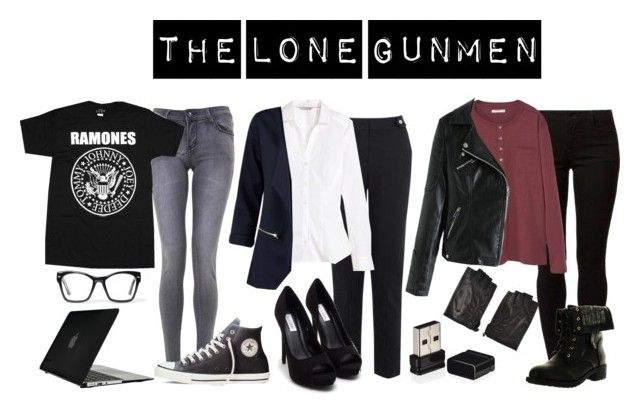 """The Lone Gunmen"" by waywardfandoms ❤ liked on Polyvore featuring Converse, Spitfire, H&M, Dorothy Perkins, Nly Shoes, MANGO, Refresh, Belstaff, Speck and Nerdy"