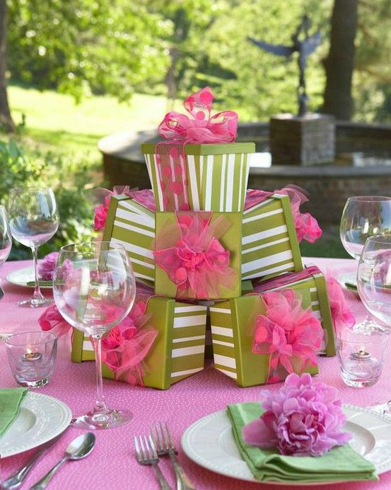 Wrapped then stacked, these gifts make a perfect centerpiece for a birthday party