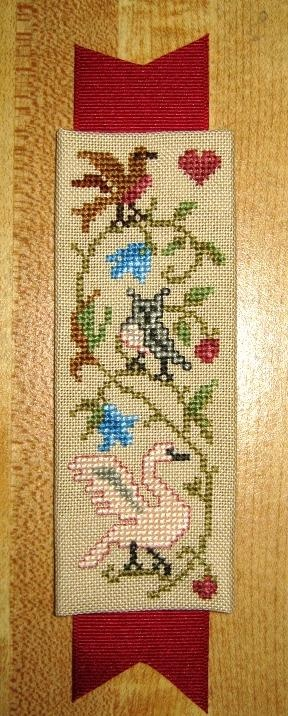 cross stitch, bookmark, birds, bókamerki fuglar