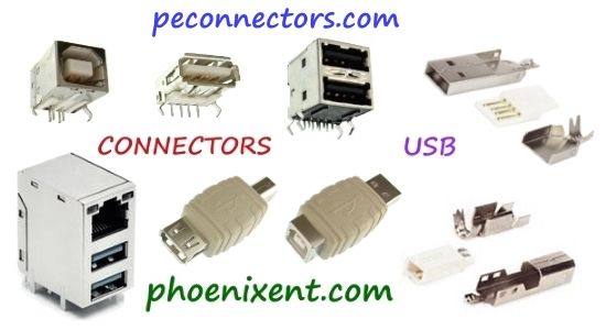 Usb Connectors Pcb Mount And Solder Usb Type Adapters Connectors Usb Electronics Component Connectors