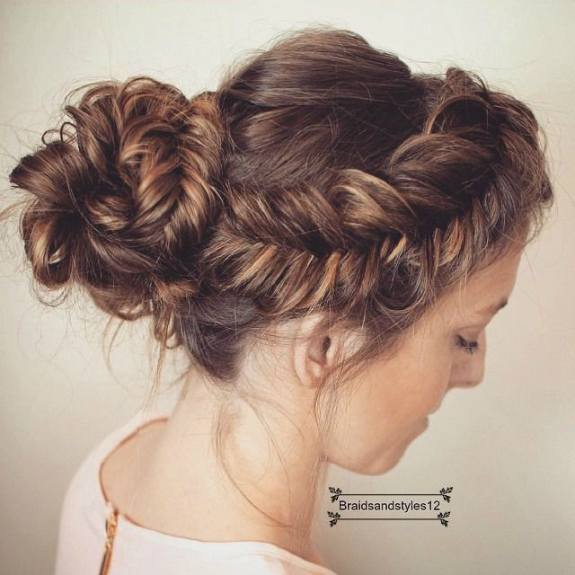 A Braided messy Fishtail Braid Updo into a Curly Bun , perfect Christmas Hairstyle , Christmas Updo or even New Years Updo