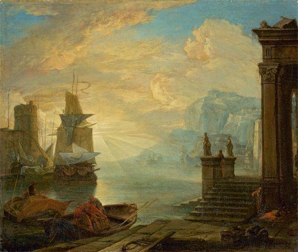 Hendrik van Minderhout (1632 Rotterdam–1696 Antwerpen) Südlicher Seehafen mit Segelschiffen