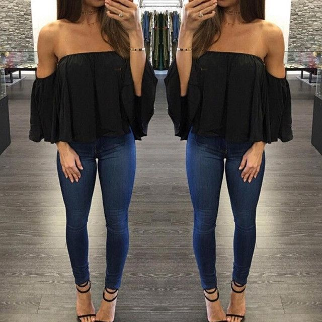 Women'S Chiffon Blouse Half Sleeve Slash Neck Soild Shirt Strapless Off Shoulder Fashion Feminine Blouses Ladies Tops LJ7974C