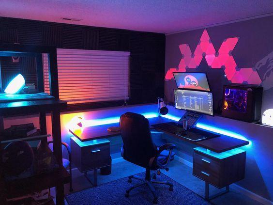 Vitrinenbeleuchtung Led Glasbodenbeleuchtung Dekoratives Licht Fur Vitrinen Glasregale Und Tv Mobel Video Game Room Design Video Game Rooms Gaming Room Setup