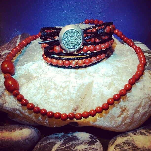 SemiPrecious Combinations - RED RIVER JASPER Triple Bracelet + RED JASPER & VINYL Necklace