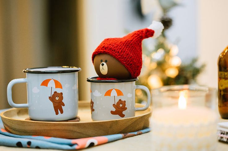 LINE FRIENDS Muurla Character Enamel Mug Cup UMBRELLA BROWN 250ml 370ml 2 TYPES #LINExMuurla